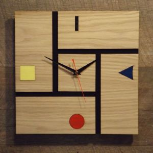 Modern Geometric Wall Clock, Red Yellow Blue, Mondrian Inspired Design